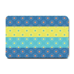 Hexagon And Stripes Pattern Small Doormat  by DanaeStudio