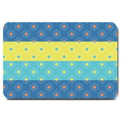 Hexagon And Stripes Pattern Large Doormat  by DanaeStudio