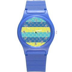 Hexagon And Stripes Pattern Round Plastic Sport Watch (s) by DanaeStudio