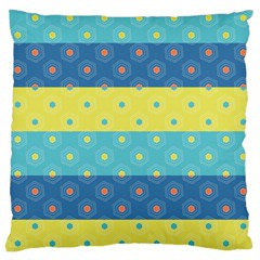 Hexagon And Stripes Pattern Large Cushion Case (one Side) by DanaeStudio