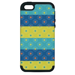 Hexagon And Stripes Pattern Apple Iphone 5 Hardshell Case (pc+silicone) by DanaeStudio