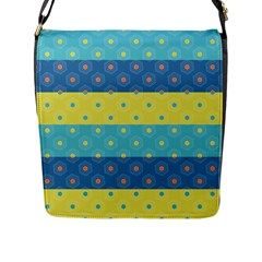 Hexagon And Stripes Pattern Flap Messenger Bag (l)  by DanaeStudio