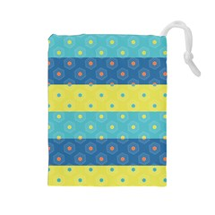 Hexagon And Stripes Pattern Drawstring Pouches (large)  by DanaeStudio