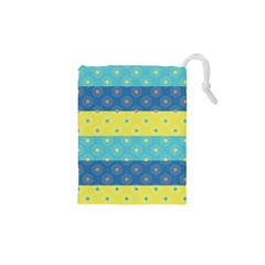 Hexagon And Stripes Pattern Drawstring Pouches (xs)