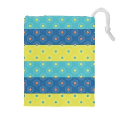 Hexagon And Stripes Pattern Drawstring Pouches (extra Large)