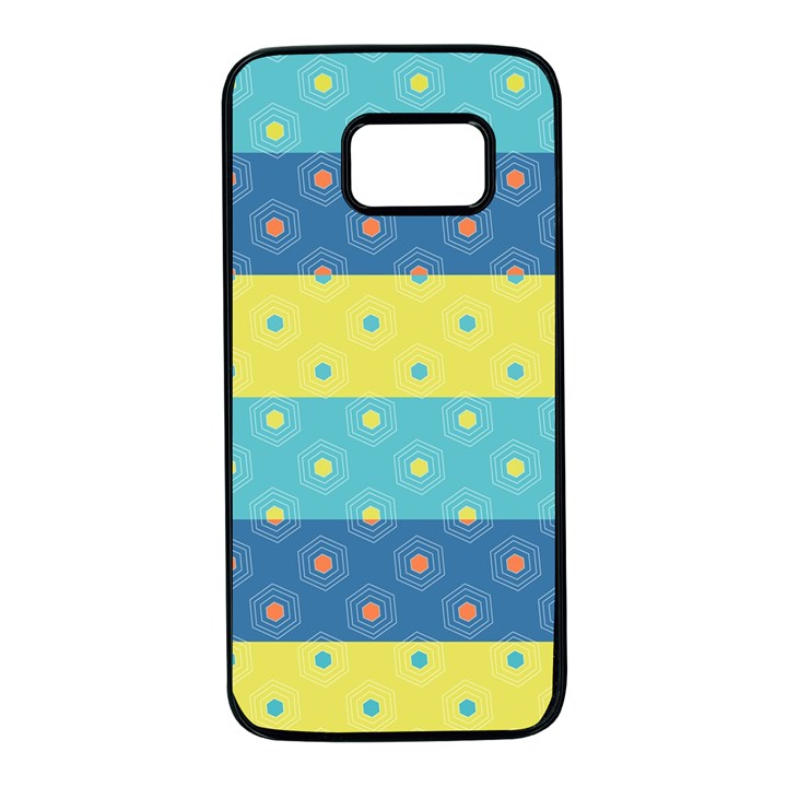 Hexagon And Stripes Pattern Samsung Galaxy S7 Black Seamless Case