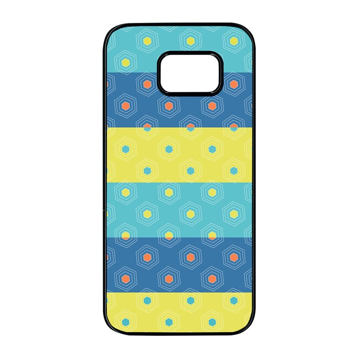 Hexagon And Stripes Pattern Samsung Galaxy S7 edge Black Seamless Case