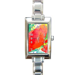 Lovely Red Poppy And Blue Dots Rectangle Italian Charm Watch