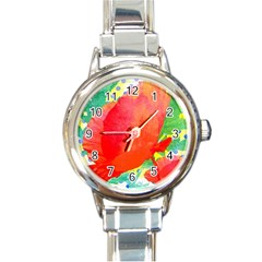 Lovely Red Poppy And Blue Dots Round Italian Charm Watch