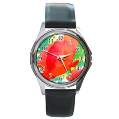 Lovely Red Poppy And Blue Dots Round Metal Watch