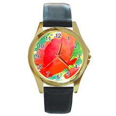 Lovely Red Poppy And Blue Dots Round Gold Metal Watch