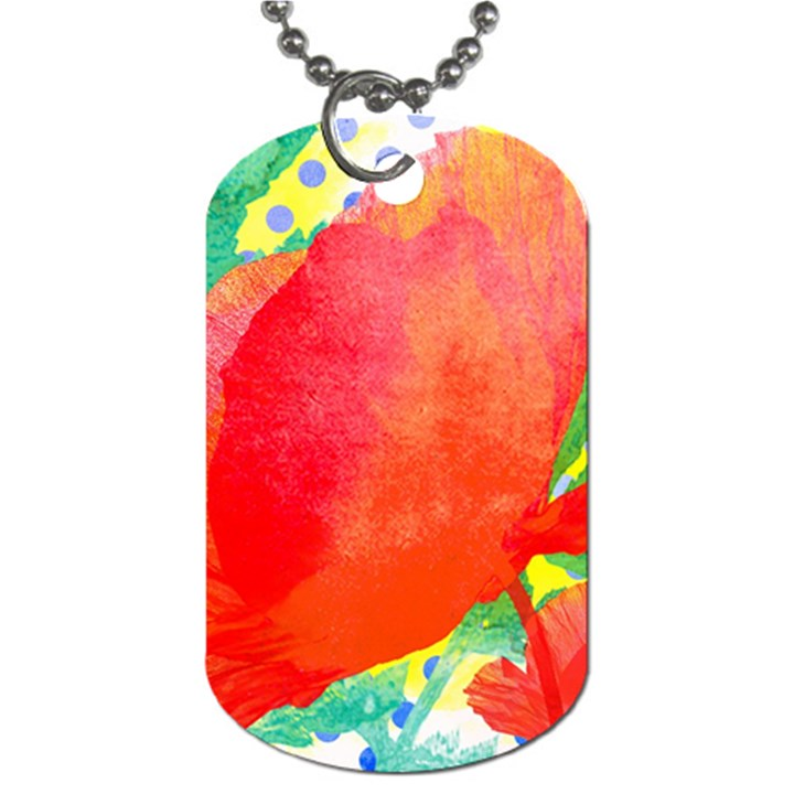 Lovely Red Poppy And Blue Dots Dog Tag (Two Sides)