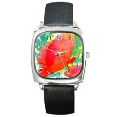 Lovely Red Poppy And Blue Dots Square Metal Watch