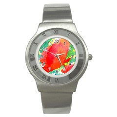 Lovely Red Poppy And Blue Dots Stainless Steel Watch