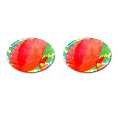 Lovely Red Poppy And Blue Dots Cufflinks (oval)