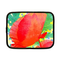 Lovely Red Poppy And Blue Dots Netbook Case (small)
