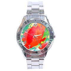 Lovely Red Poppy And Blue Dots Stainless Steel Analogue Watch