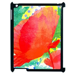 Lovely Red Poppy And Blue Dots Apple Ipad 2 Case (black)