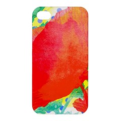 Lovely Red Poppy And Blue Dots Apple Iphone 4/4s Hardshell Case