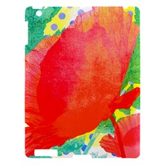 Lovely Red Poppy And Blue Dots Apple Ipad 3/4 Hardshell Case