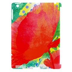 Lovely Red Poppy And Blue Dots Apple Ipad 3/4 Hardshell Case (compatible With Smart Cover)