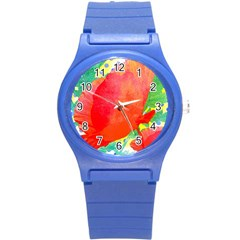 Lovely Red Poppy And Blue Dots Round Plastic Sport Watch (s)