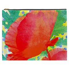Lovely Red Poppy And Blue Dots Cosmetic Bag (xxxl)