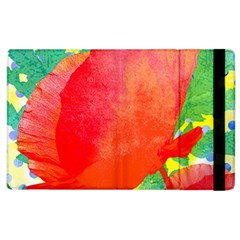 Lovely Red Poppy And Blue Dots Apple Ipad 2 Flip Case by DanaeStudio