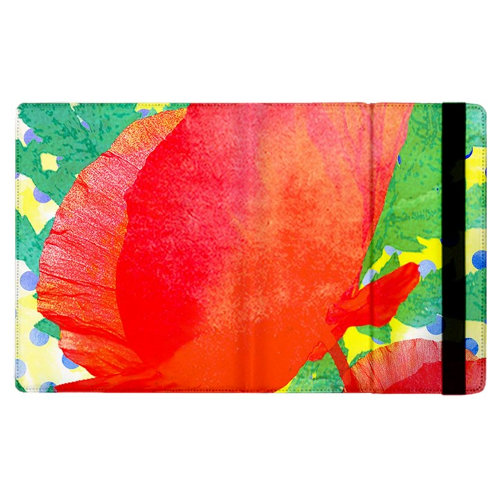Lovely Red Poppy And Blue Dots Apple iPad 2 Flip Case