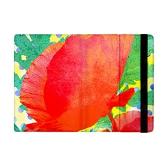 Lovely Red Poppy And Blue Dots Apple Ipad Mini Flip Case