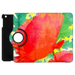 Lovely Red Poppy And Blue Dots Apple Ipad Mini Flip 360 Case