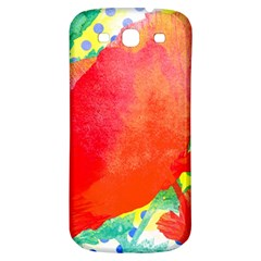 Lovely Red Poppy And Blue Dots Samsung Galaxy S3 S Iii Classic Hardshell Back Case by DanaeStudio