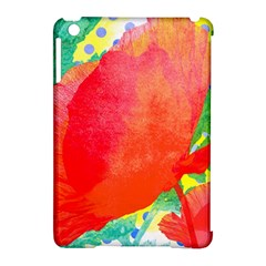 Lovely Red Poppy And Blue Dots Apple Ipad Mini Hardshell Case (compatible With Smart Cover)