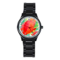 Lovely Red Poppy And Blue Dots Stainless Steel Round Watch