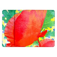 Lovely Red Poppy And Blue Dots Samsung Galaxy Tab 10 1  P7500 Flip Case by DanaeStudio