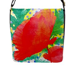 Lovely Red Poppy And Blue Dots Flap Messenger Bag (l)