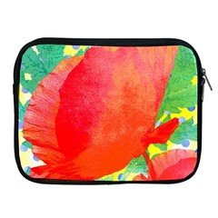Lovely Red Poppy And Blue Dots Apple Ipad 2/3/4 Zipper Cases