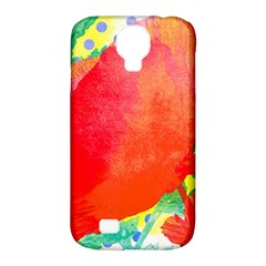 Lovely Red Poppy And Blue Dots Samsung Galaxy S4 Classic Hardshell Case (pc+silicone)