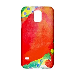 Lovely Red Poppy And Blue Dots Samsung Galaxy S5 Hardshell Case