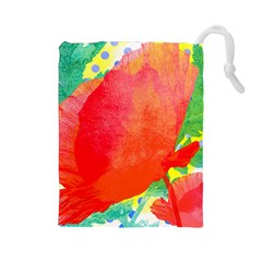 Lovely Red Poppy And Blue Dots Drawstring Pouches (large)  by DanaeStudio
