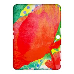 Lovely Red Poppy And Blue Dots Samsung Galaxy Tab 4 (10 1 ) Hardshell Case