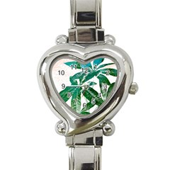 Pachira Leaves  Heart Italian Charm Watch by DanaeStudio