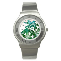 Pachira Leaves  Stainless Steel Watch by DanaeStudio