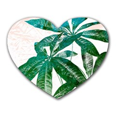 Pachira Leaves  Heart Mousepads