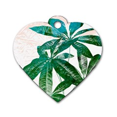 Pachira Leaves  Dog Tag Heart (two Sides)