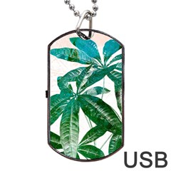Pachira Leaves  Dog Tag Usb Flash (one Side) by DanaeStudio