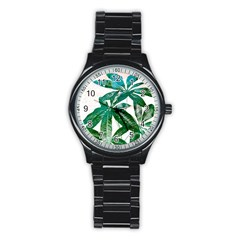 Pachira Leaves  Stainless Steel Round Watch