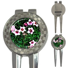 Pink Flowers Over A Green Grass 3 In 1 Golf Divots by DanaeStudio