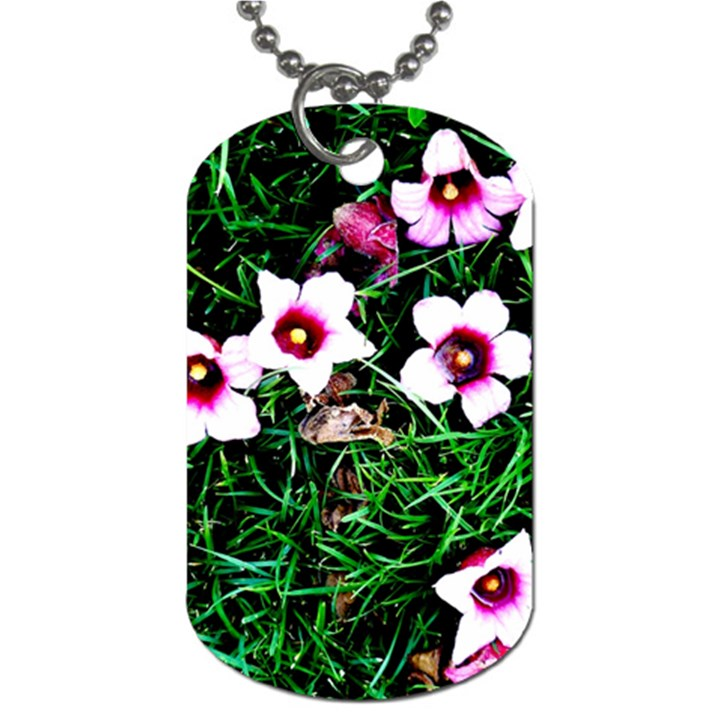 Pink Flowers Over A Green Grass Dog Tag (One Side)