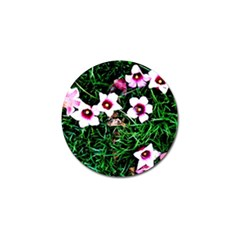 Pink Flowers Over A Green Grass Golf Ball Marker (4 Pack) by DanaeStudio